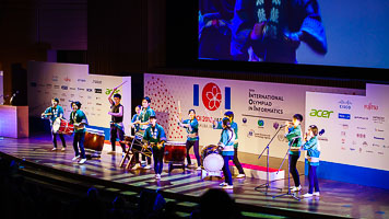 Drummers at the IOI 2018 Japan closing ceremony