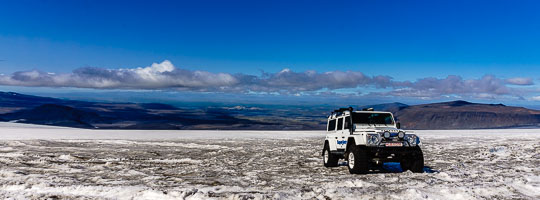 Jeep on glacier in Iceland